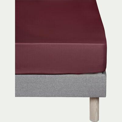 Drap housse en coton Rouge sumac 160x200cm -bonnet 25cm-CALANQUES