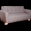Canapé 3 places fixe en tissu gris clair-VICKY
