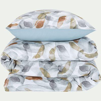 Housse de couette et 2 taies d'oreiller en coton motif aquarelle - bleu 240x220cm-SARBA