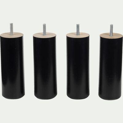 Pieds de sommier noirs H20 cm - jeu de 4-Cylindre