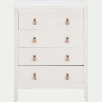Commode en bois 4 tiroirs L76xl39xH100cm - blanc-LISA