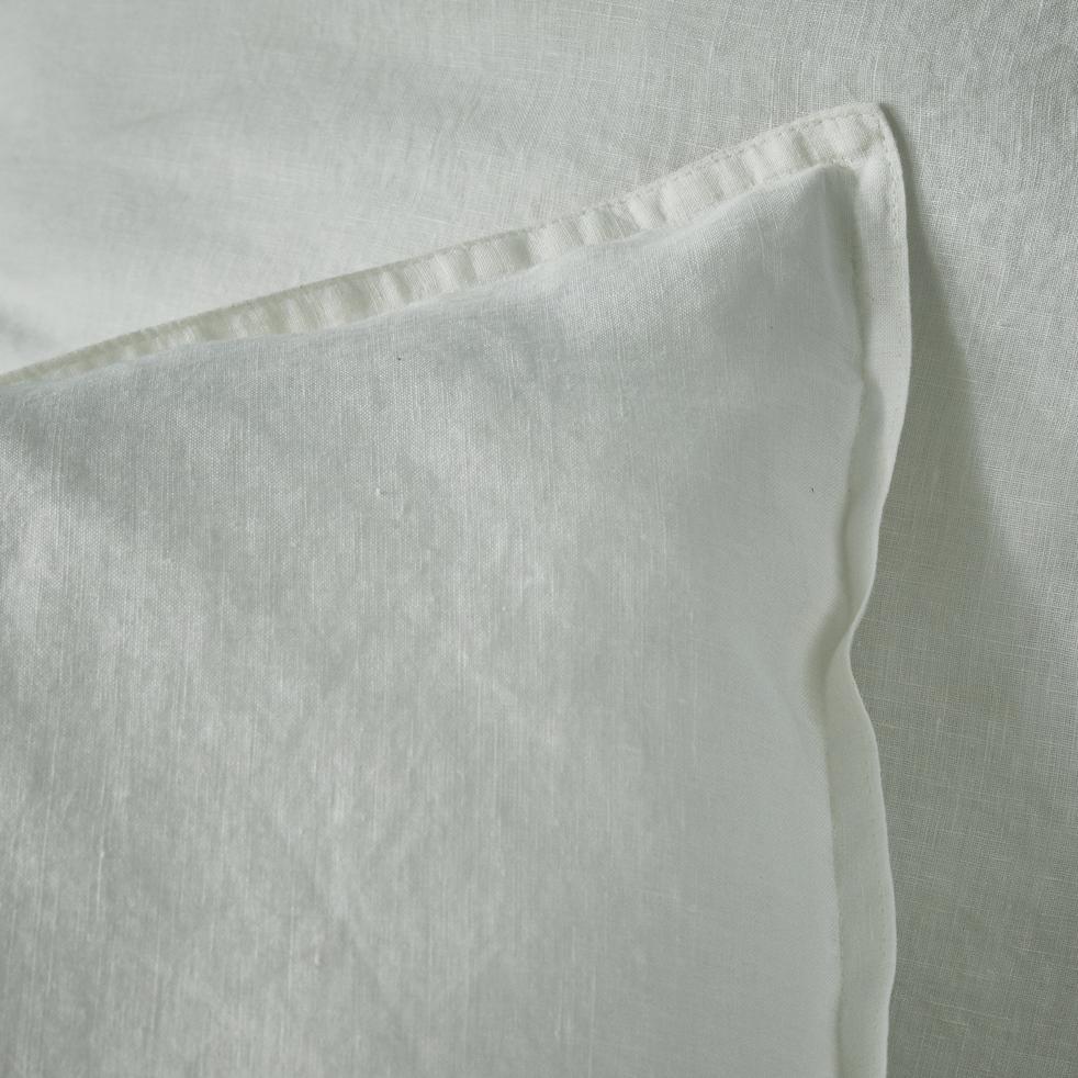 Lot de 2 taies d'oreiller en lin Blanc capelan 65x65cm-VENCE