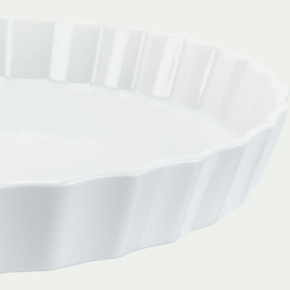 Plat rond en porcelaine D27,5cm - blanc-AZE