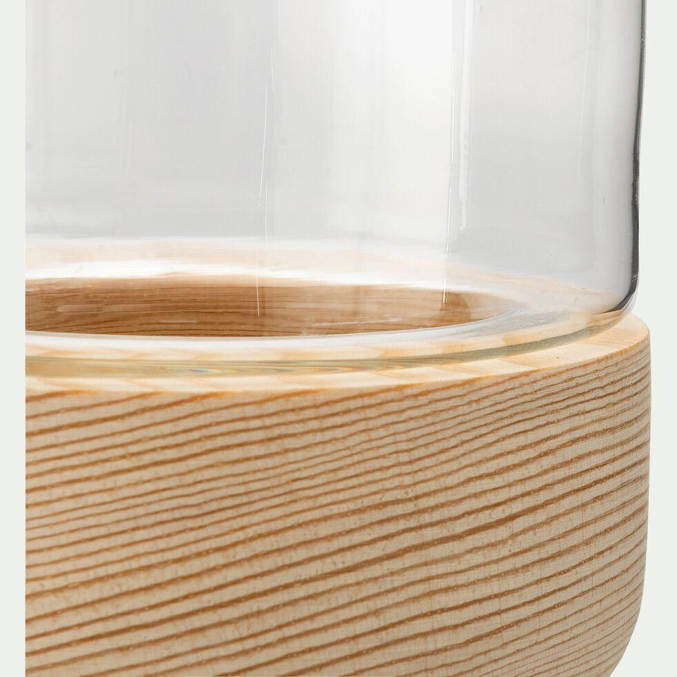 Photophore en verre sur socle en bois - transparent H8,5cm-Skyro