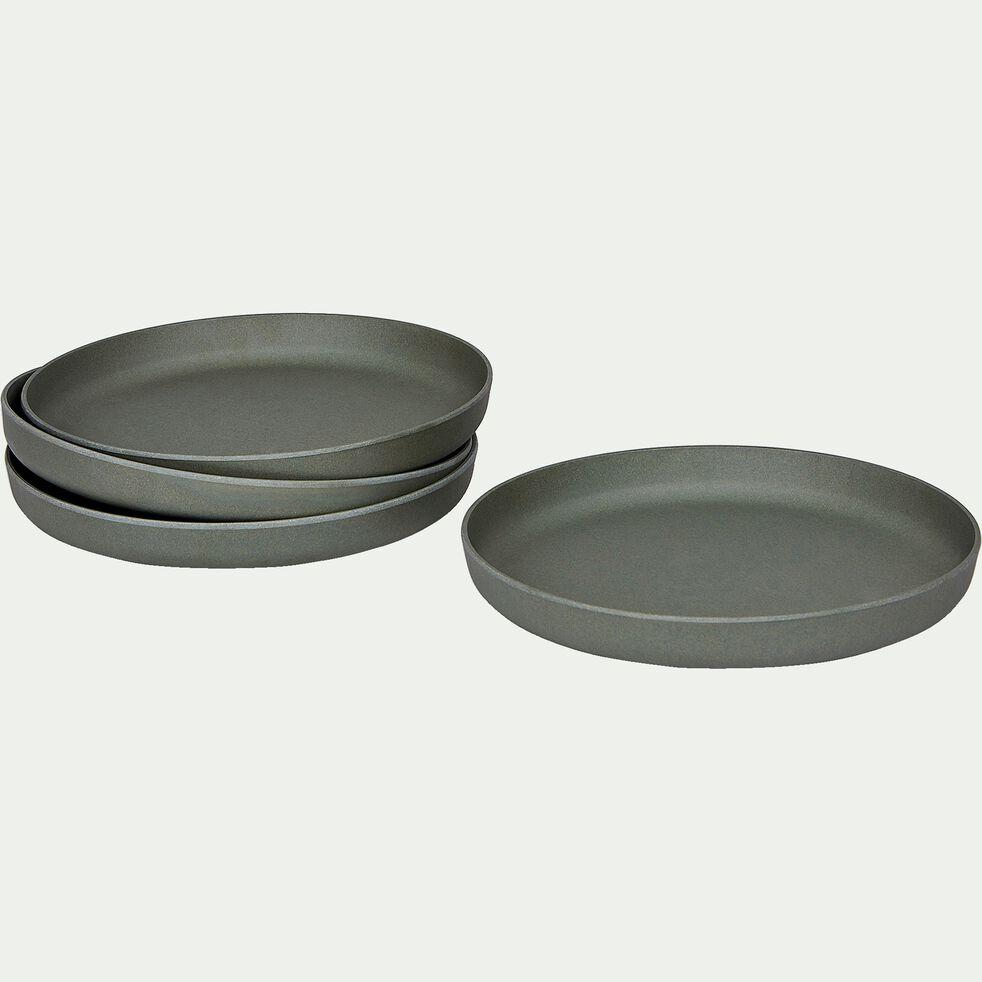 Lot de 4 assiettes plates en matières végétales - vert cèdre-HINX