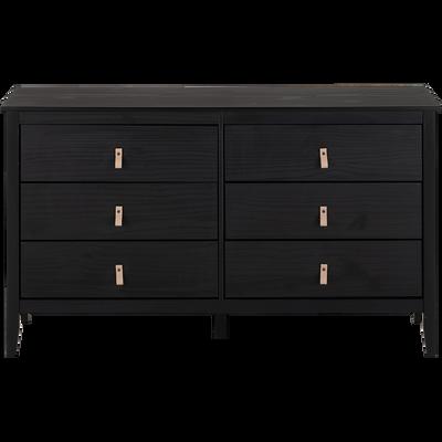 Commode 2x3 tiroirs pin massif noir-LISON