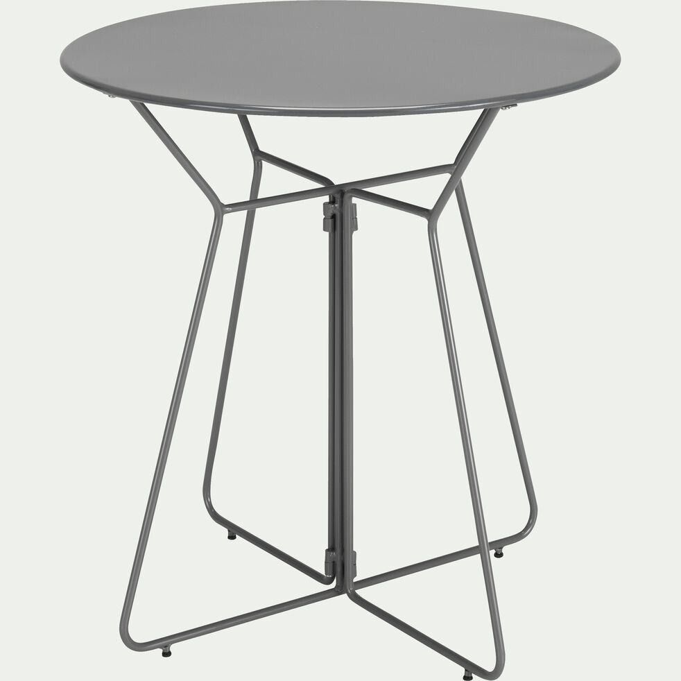 Table de jardin ronde grise (2 places)-Alexia