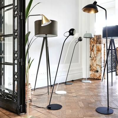 Lampadaire orientable en métal noir et doré H153cm-JAYDA
