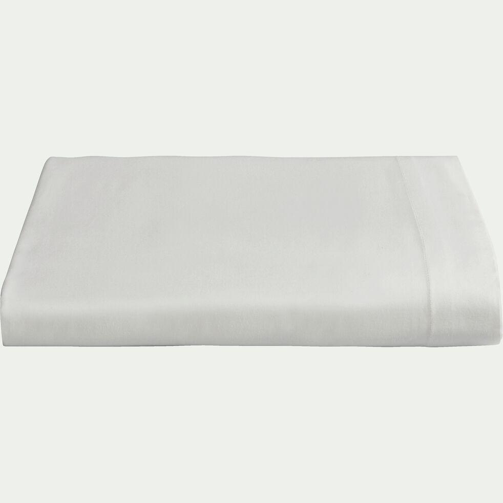 Drap plat en percale de coton - blanc ventoux 270x300cm-FLORE