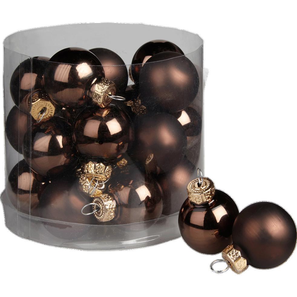24 mini boules de Noël en verre marron D2,5cm-Nive