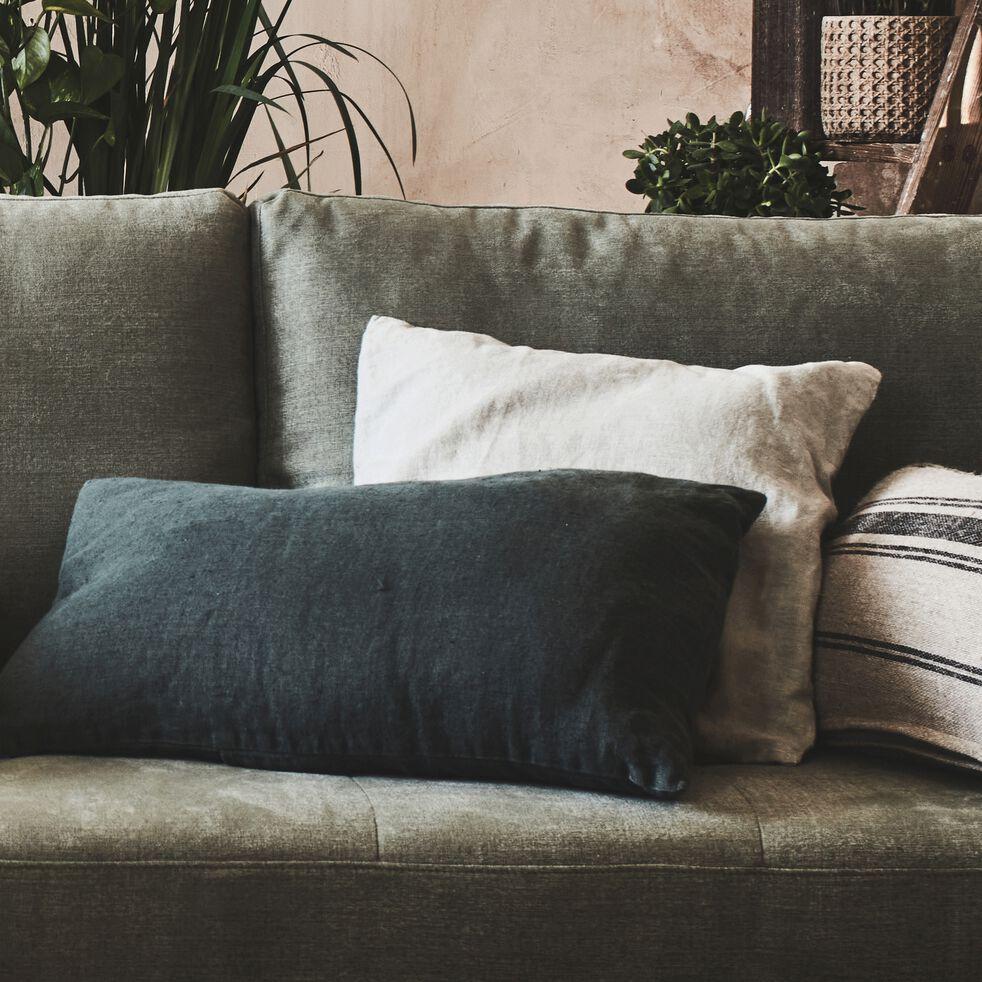 Coussin en lin lavé - vert cèdre 40x60cm-VENCE