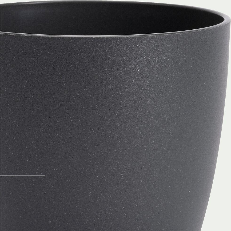 Cache-pot en plastique H8,7xD9,5cm - gris anthracite-BRUSSELS