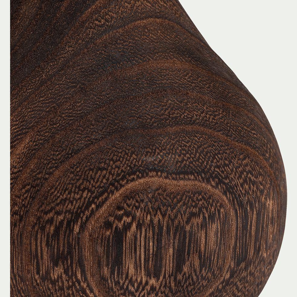 Vase en bois de paulownia - marron H17cm-TANGUY