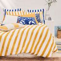 Housse de couette et 2 taies d'oreiller rayés en coton - jaune 240x220cm-SINTRA