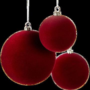 Lot de 9 boules en plastique rouge (plusieurs tailles)-SAUVAIRE