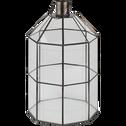 Lanterne en verre et métal noir H39,5cm-NINO