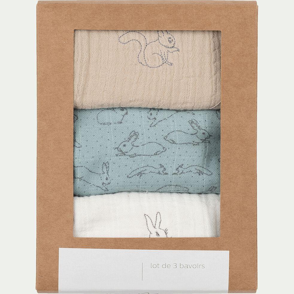 Lot de 3 bavoirs bébé en gaz de coton bio - bleu, blanc et beige - motifs imprimés-Nuage
