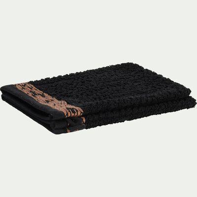 Lot de 2 gants de toilette en coton bouclette - noir-NIL