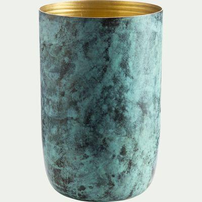 Vase effet marbre en aluminium - vert et doré H20cm-APIALE