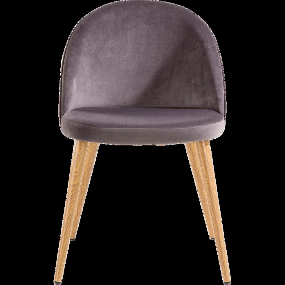 Chaise en velours gris anthracite-ROMANE