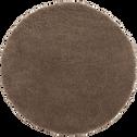 Tapis rond à poils longs taupe - Plusieurs tailles-KRIS