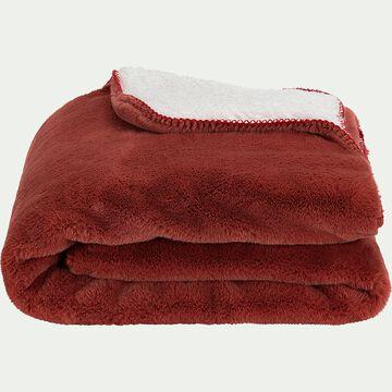 Plaid imitation fourrure en polyester - rouge ricin 180x220cm-MARIUS