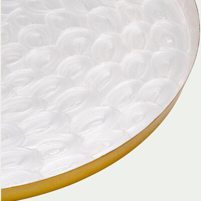 Plateau en métal doré et blanc D35cm-BATAAN