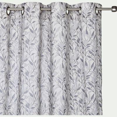 Voilage à oeillets en coton motif floral 140x250cm-ORANGER