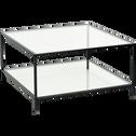 Table basse carrée en métal noir et verre h42cm-LOKA