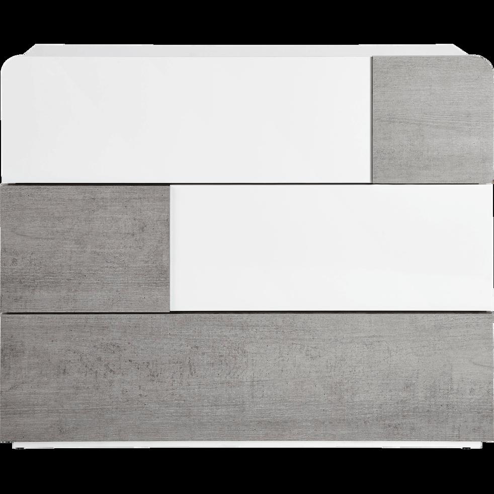 Commode 3 tiroirs Blanc laqué et béton-DELIA