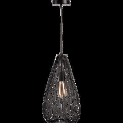 Suspension en métal filaire noir H45xD25cm-CLAUDINE