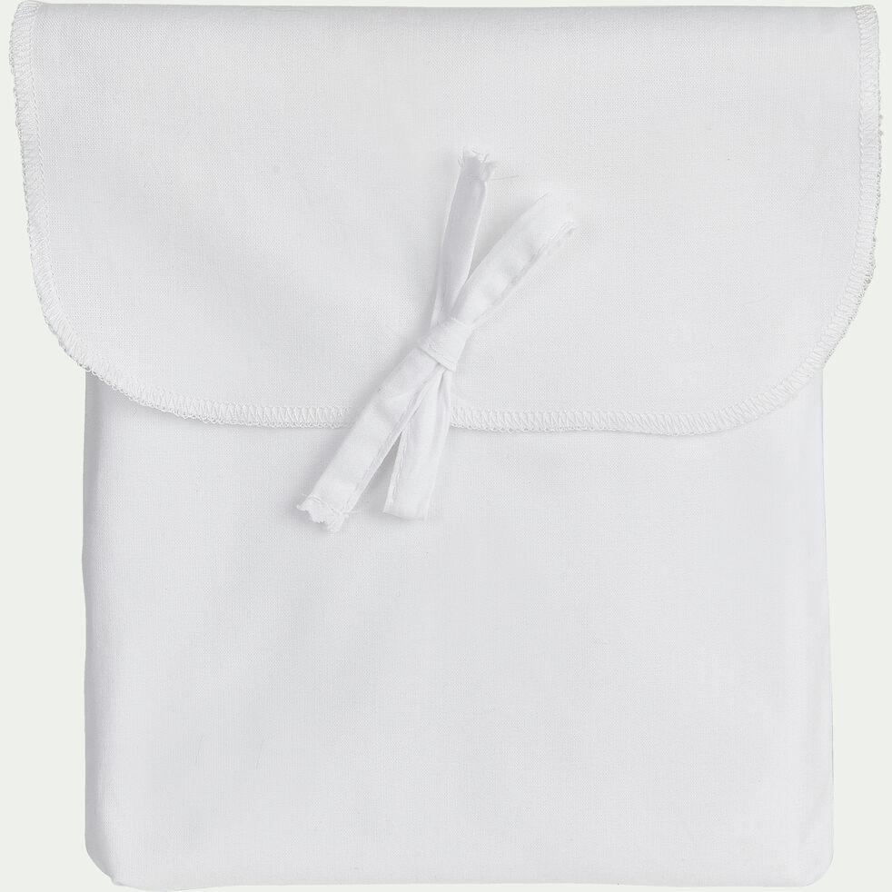 Taie de traversin en coton - blanc 43x185cm-FLORE