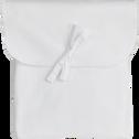 Taie de traversin en coton blanc 43x185cm-FLORE