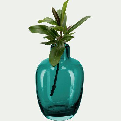 Vase bouteille en verre - bleu niolon H11,5cm-TAPHOS