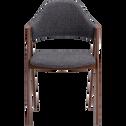 Chaise en tissu gris foncé piètement bois foncé-GONZAGUE