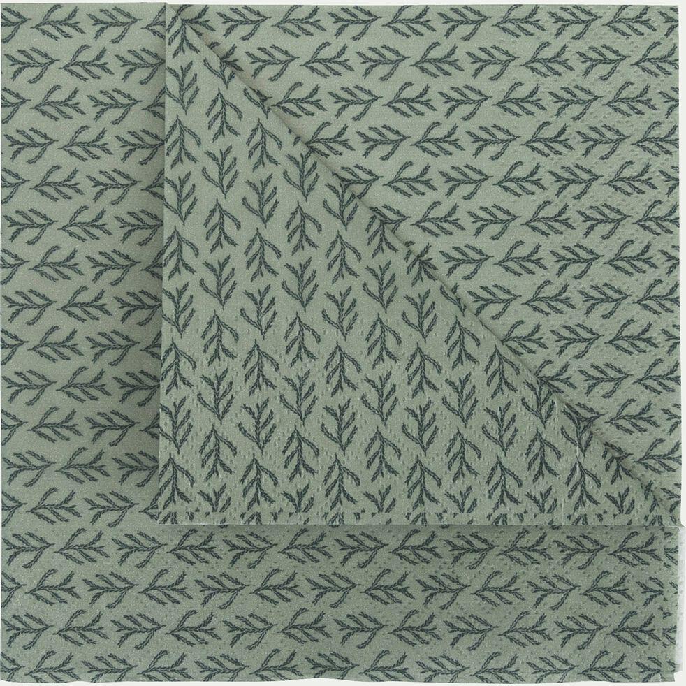 Lot de 20 serviettes en papier vert olivier à motif cyprès 33x33cm-SAZE