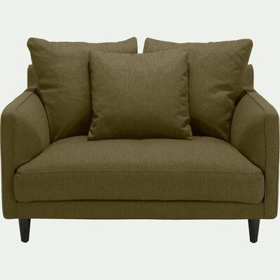 Canapé 1,5 places fixe en tissu vert cèdre-LENITA