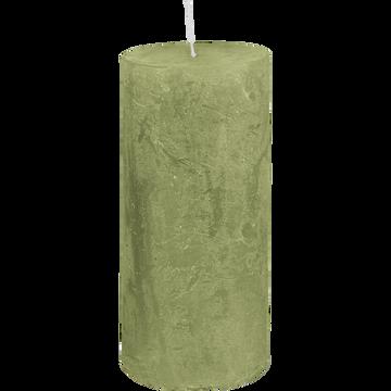 Bougie cylindrique vert garrigue H15cm-BEJAIA