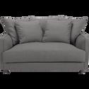 Canapé 2 places convertible en tissu gris borie-LENITA