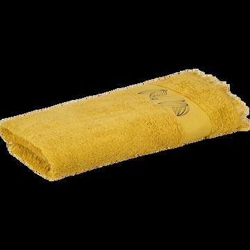 Drap de douche 70x140cm à broderies et franges-CACAO