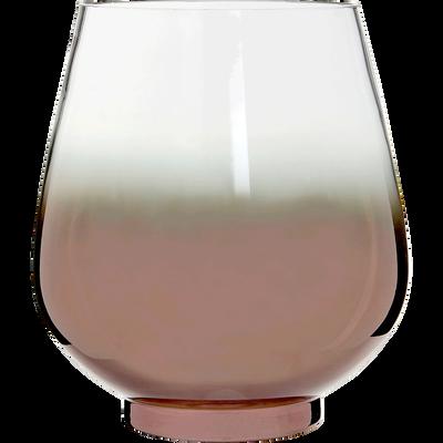 Photophore en verre base coloris cuivre h24cm-DEVON