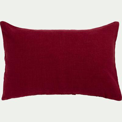 Coussin en lin lavé - rouge sumac 40x60cm-VENCE