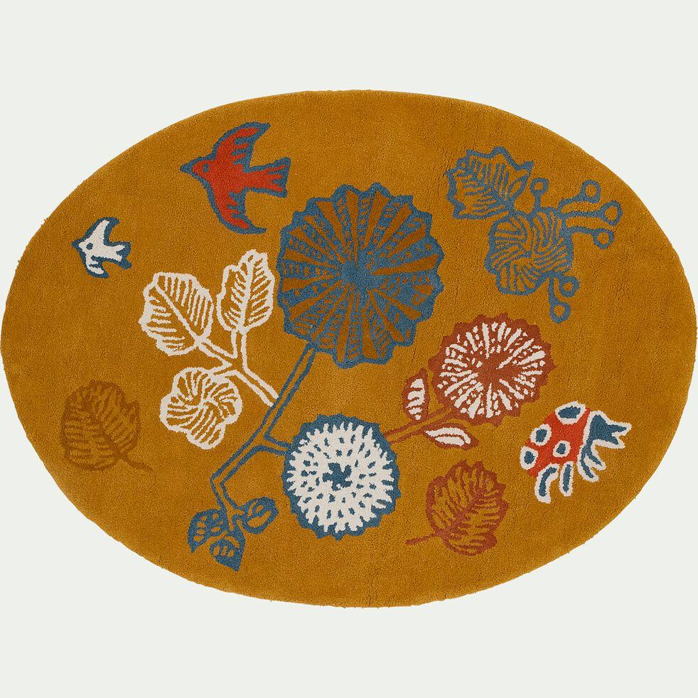 Tapis enfant tufté ovale motif prairie 95x130cm - multicolore-Gaiet