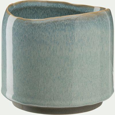 Cache pot bleu D10xH8,7cm-CEBU
