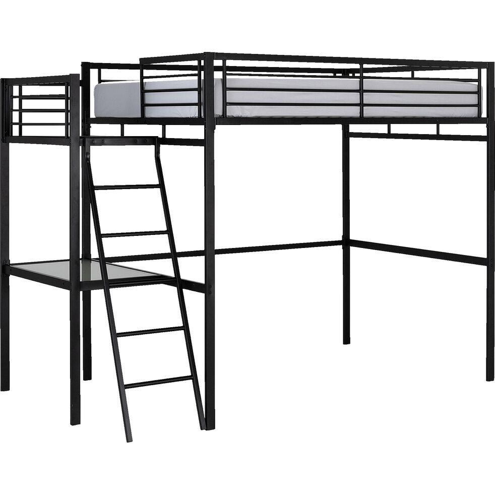 niolon lit mezzanine 140x200cm avec bureau en verre noir