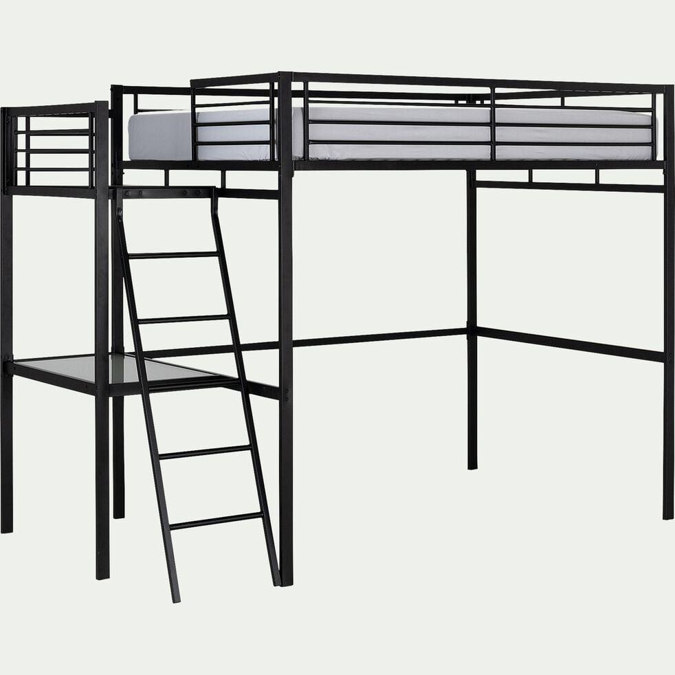 Lit mezzanine 140x200cm avec bureau en verre - noir-NIOLON
