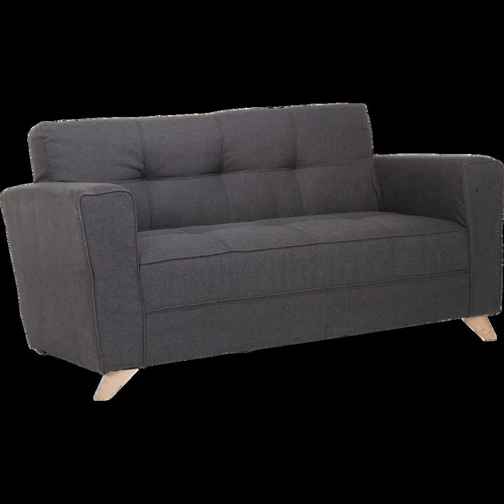 Canapé 2 places fixe en tissu gris anthracite-VICKY