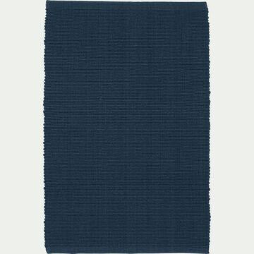 Descente de lit en coton - bleu figuerolles 50x80cm-CAMELIA