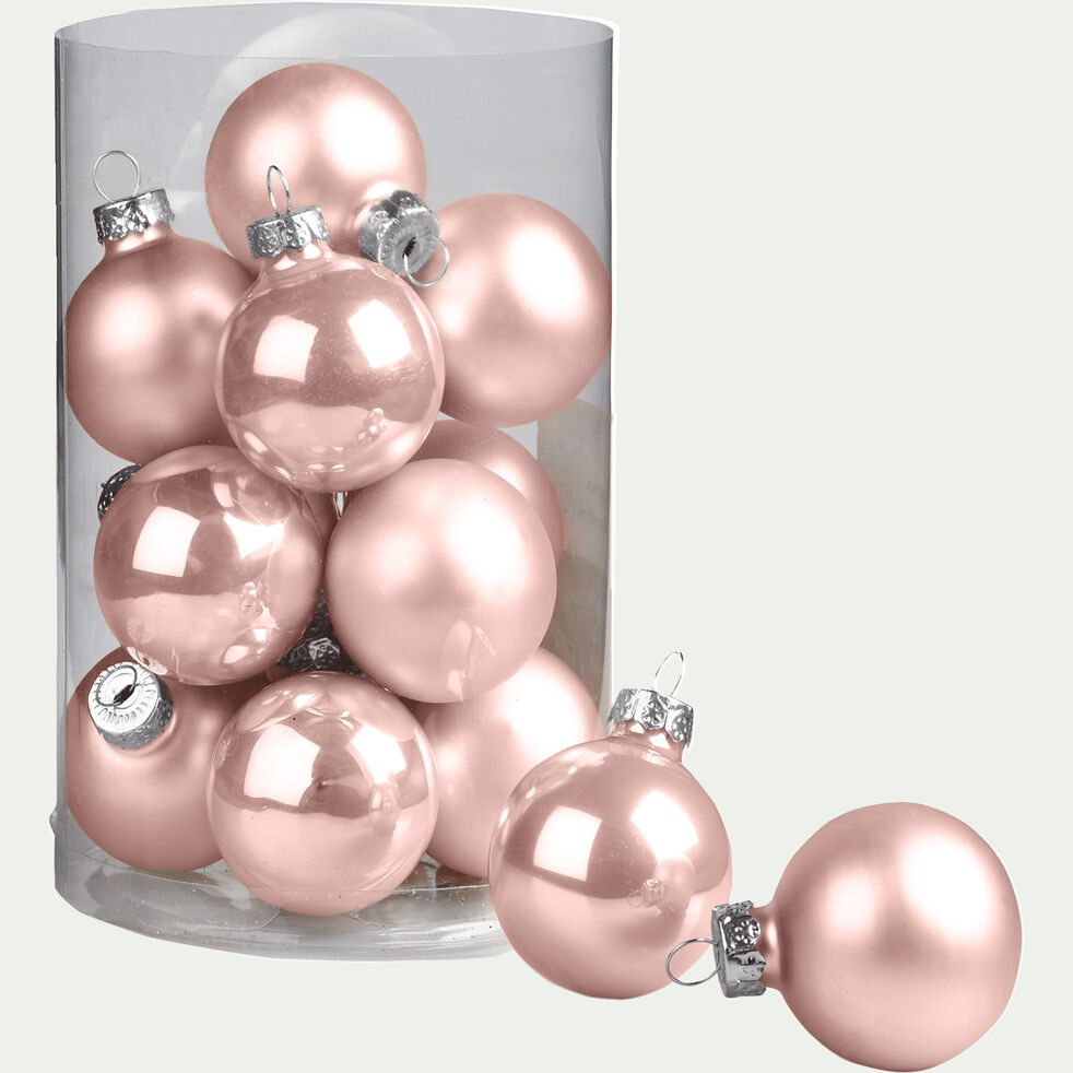 16 boules de Noël rose en verre brillant et mat D3.5cm-MINIBOULE