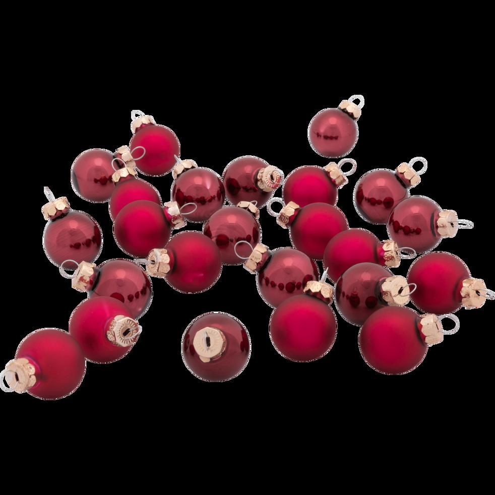 24 mini boules de Noël en verre bordeaux D2,5cm-Nive